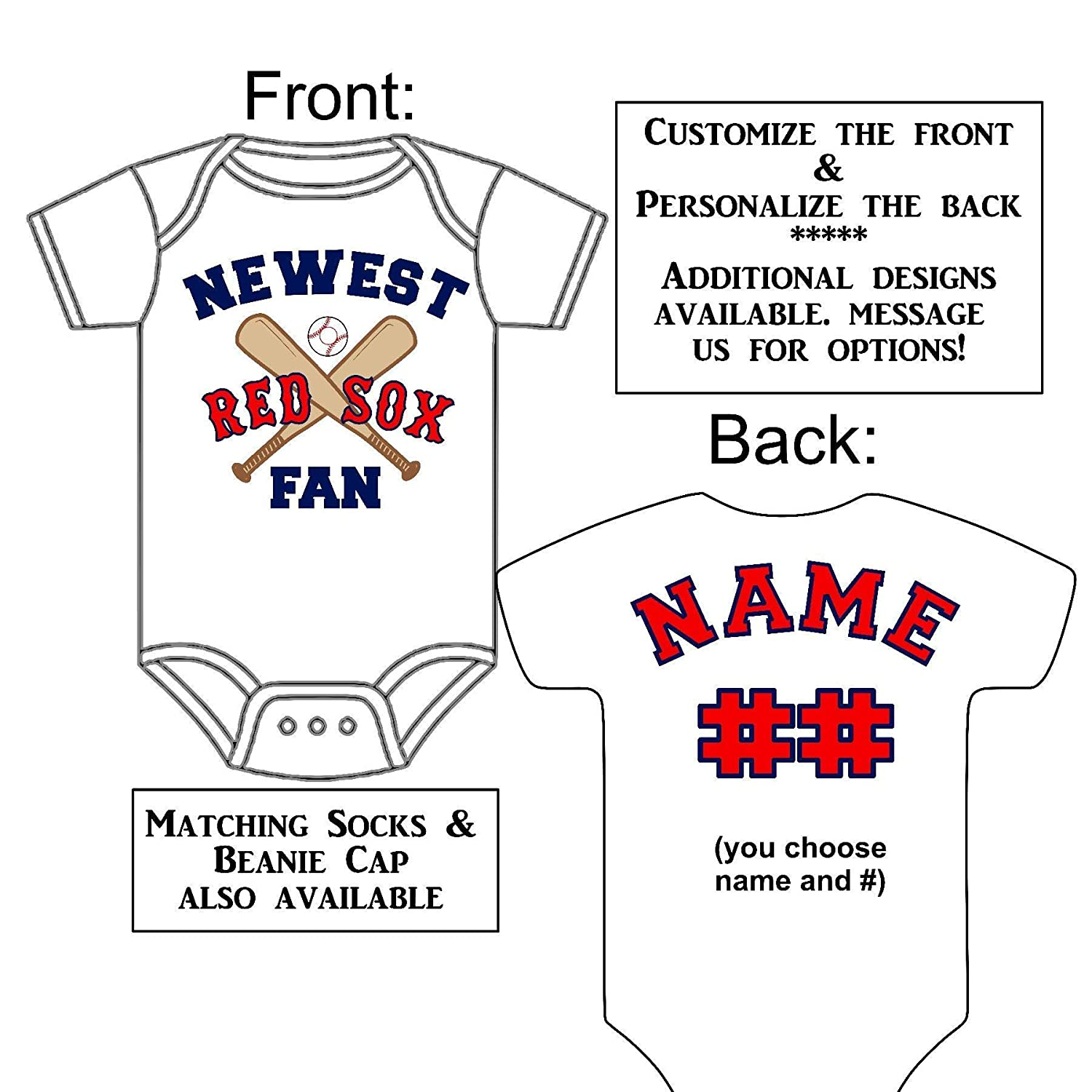 Personalized Custom Made Newest Red Sox Fan Gerber Onesie Baseball Jersey Baby Announcement Reveal or Shower Gift