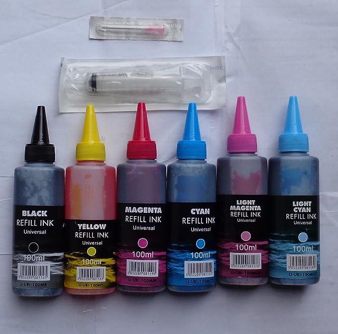 6 colores tinte 100 ml IJ marca con jeringuilla boquilla tinta para recargar cartuchos