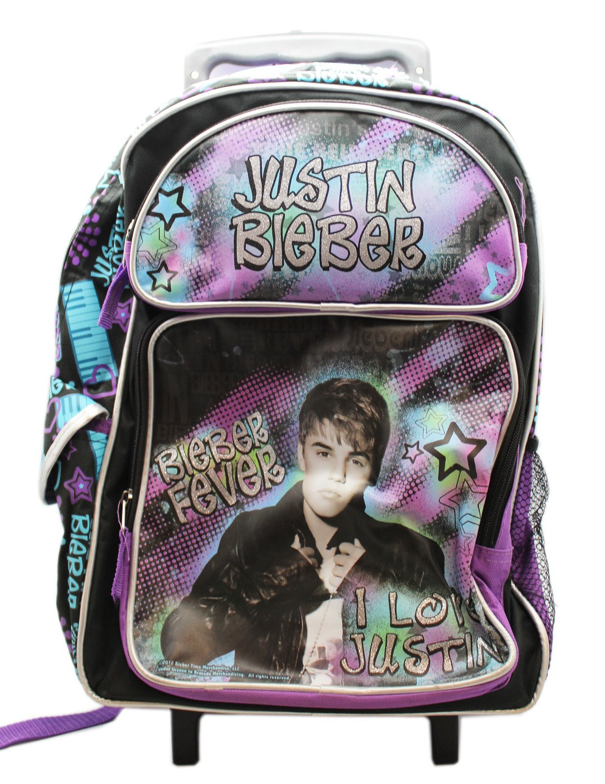 Justin Bieber I Love Justin Musical Stars Kids Full Size Rolling Backpack (16in)