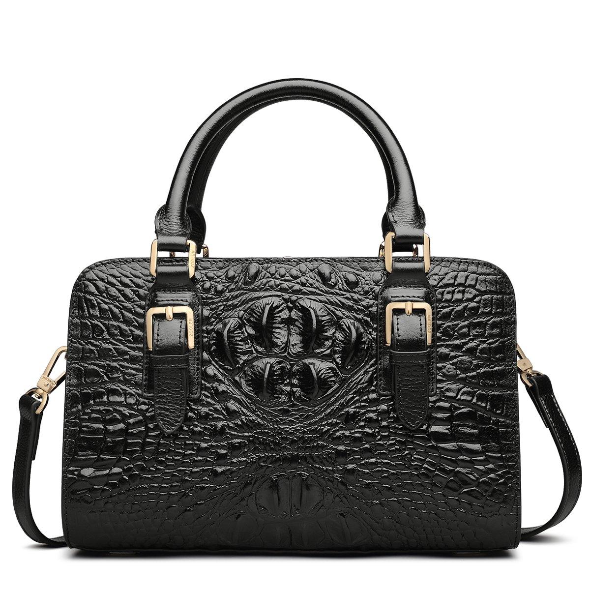 ZOOLER GLOBAL Genuine Leather Handbag Crocodile Embrossed Luxury Top Designer Purse Black