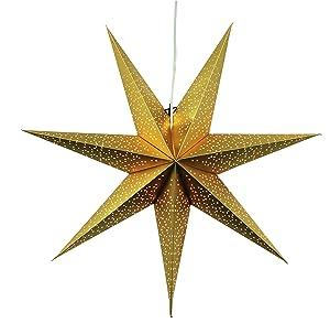 Best Season 231-53 Dot 70 - Estrella de papel  (aprox. 70 x 70 cm, incluye el cable),  color dorado