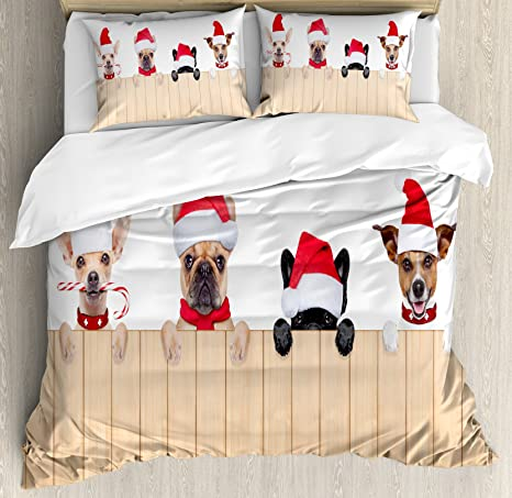Juego de funda de edredón de Navidad por Ambesonne, Grupo de perros de Papá Noel