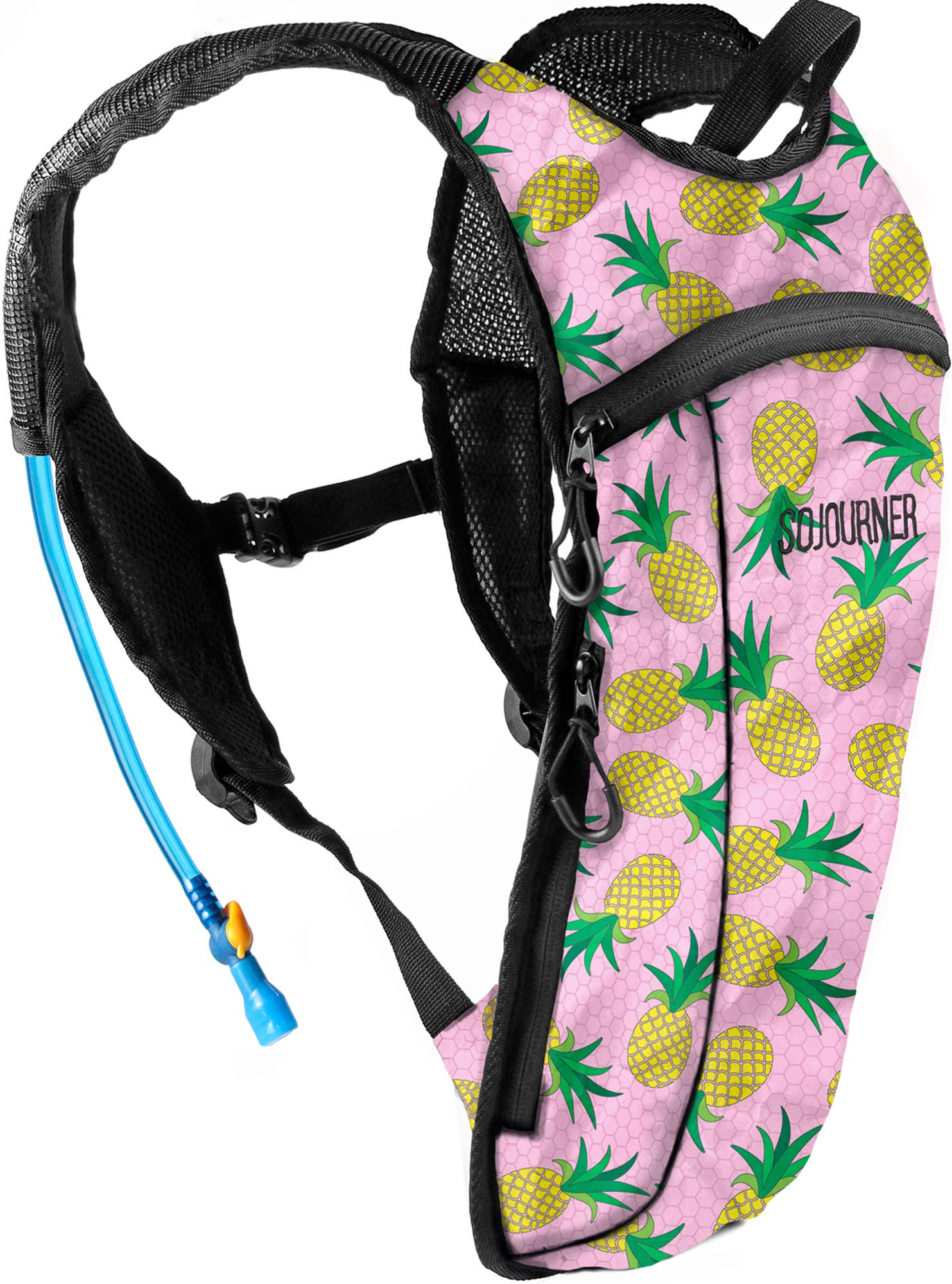 Sojourner Rave Hydration Pack Backpack - 2L Water Bladder Included for Festivals, Raves, Hiking, Biking, Climbing, Running and More (Small) (Pineapple) by SoJourner Bags