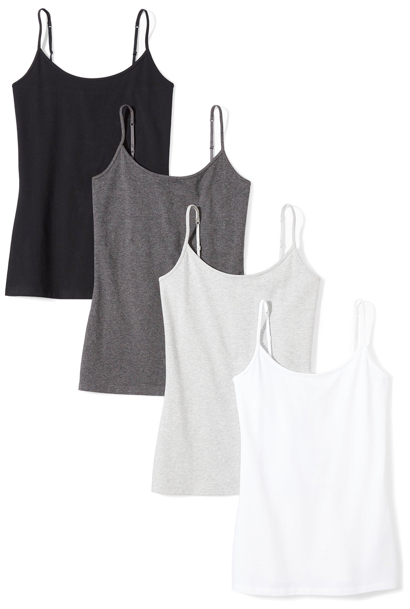 Amazon Essentials Women's 4-Pack Camisole, Black/White/Charcoal Heather/Light Grey Heather, Medium by Amazon Essentials