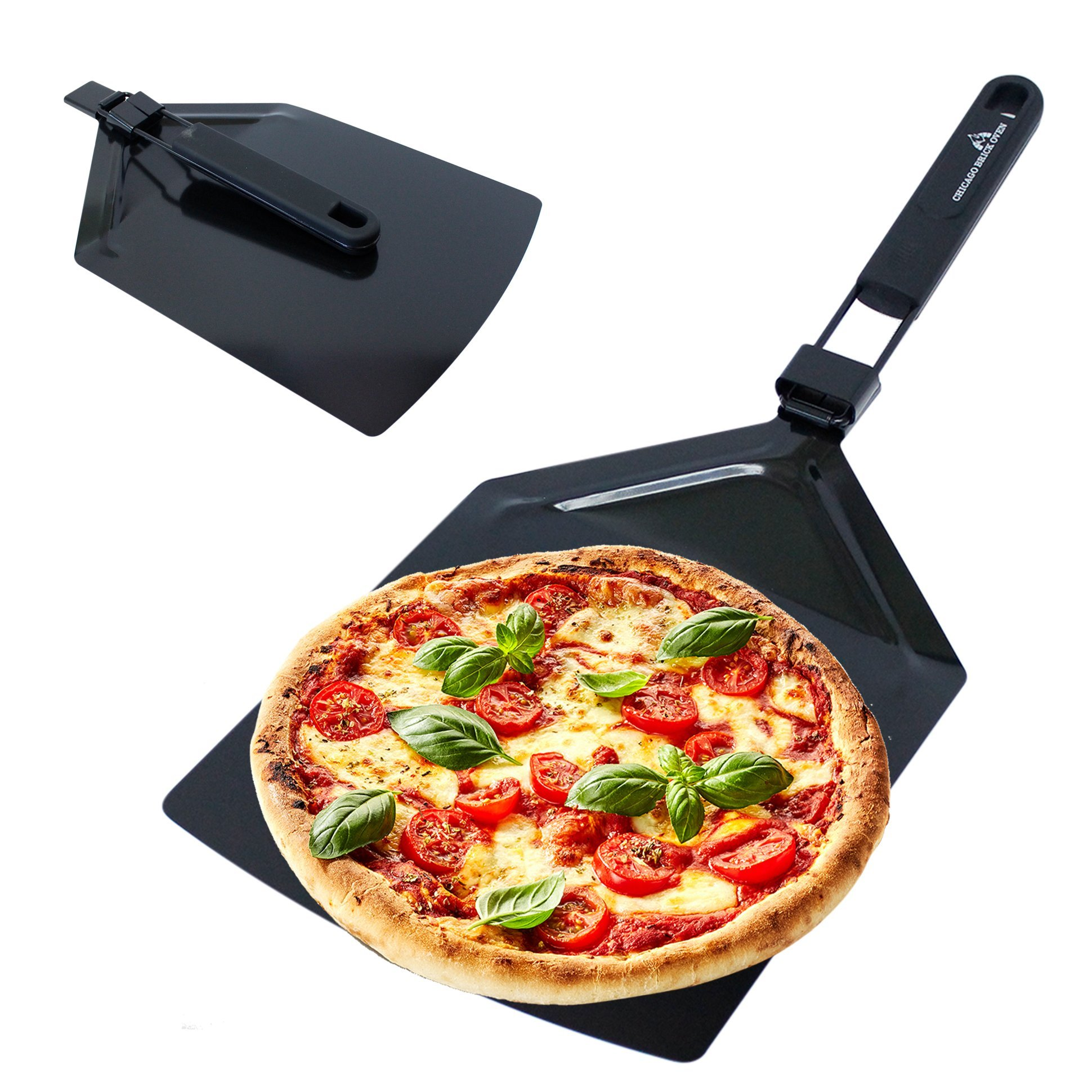 Foldable Stainless Steel Black Teflon Non-Stick Pizza Peel Paddle Spatula (9.5 x 13'') great for Indoor and Outdoor Wood Fired Pizza Brick Oven