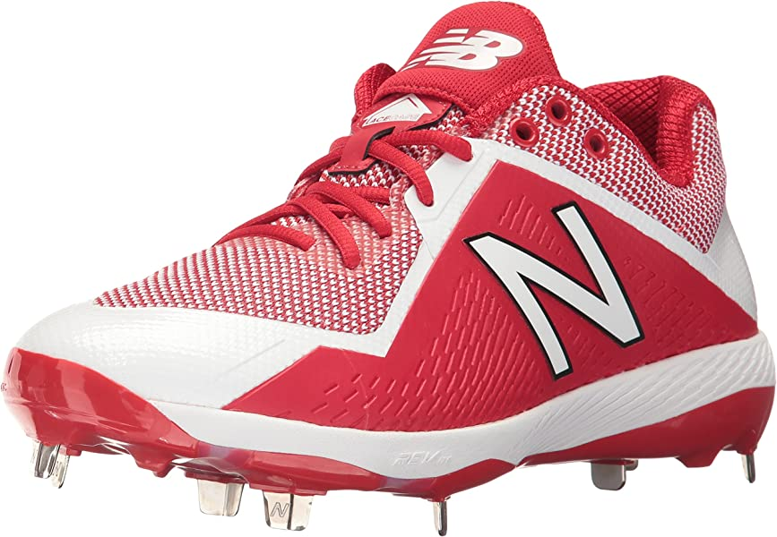 75ccd3779ef76 New Balance Men's L4040v4 Metal Baseball Shoe, Red/White, 6.5 2E US
