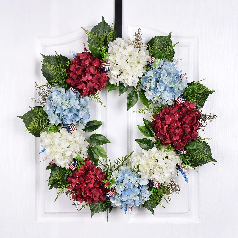 POETIC WREATH F6 Large 21 inch Blue Red White Hydrangea Grapevine Wreath.Year Round Wreath.Spring Wreath.Summer Wreath.Front Door Wreath.Festival Wreath.Gifts Handmade Wreath.Rustic Wreath