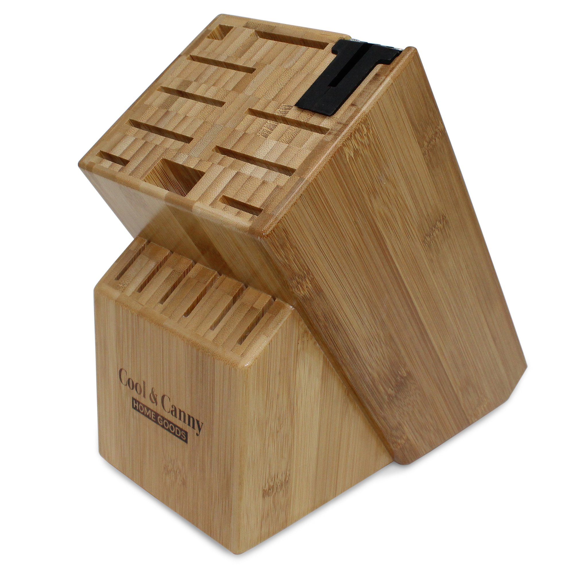 16 Slot Bamboo Universal Knife Block With Knife Sharpener by Cool & Canny