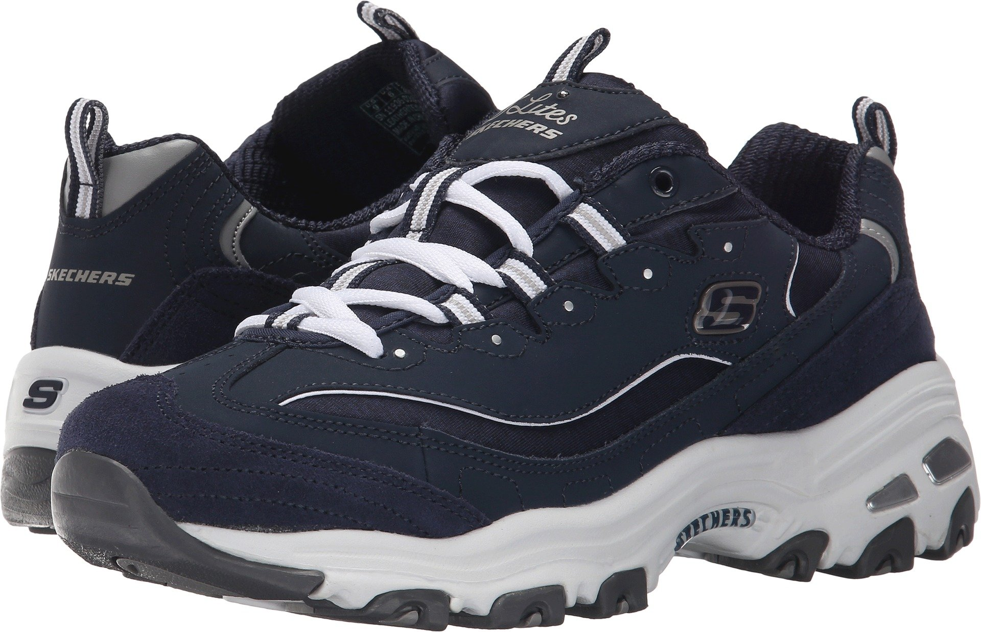 Skechers Women's D'Lites Sneaker,Me Time/Navy/White,US 12 M