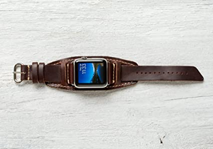 9dad091789a611 Pad and Quill Lowry Cuff Leather Apple Watch Band - Chestnut with Polished  Nickel 42mm