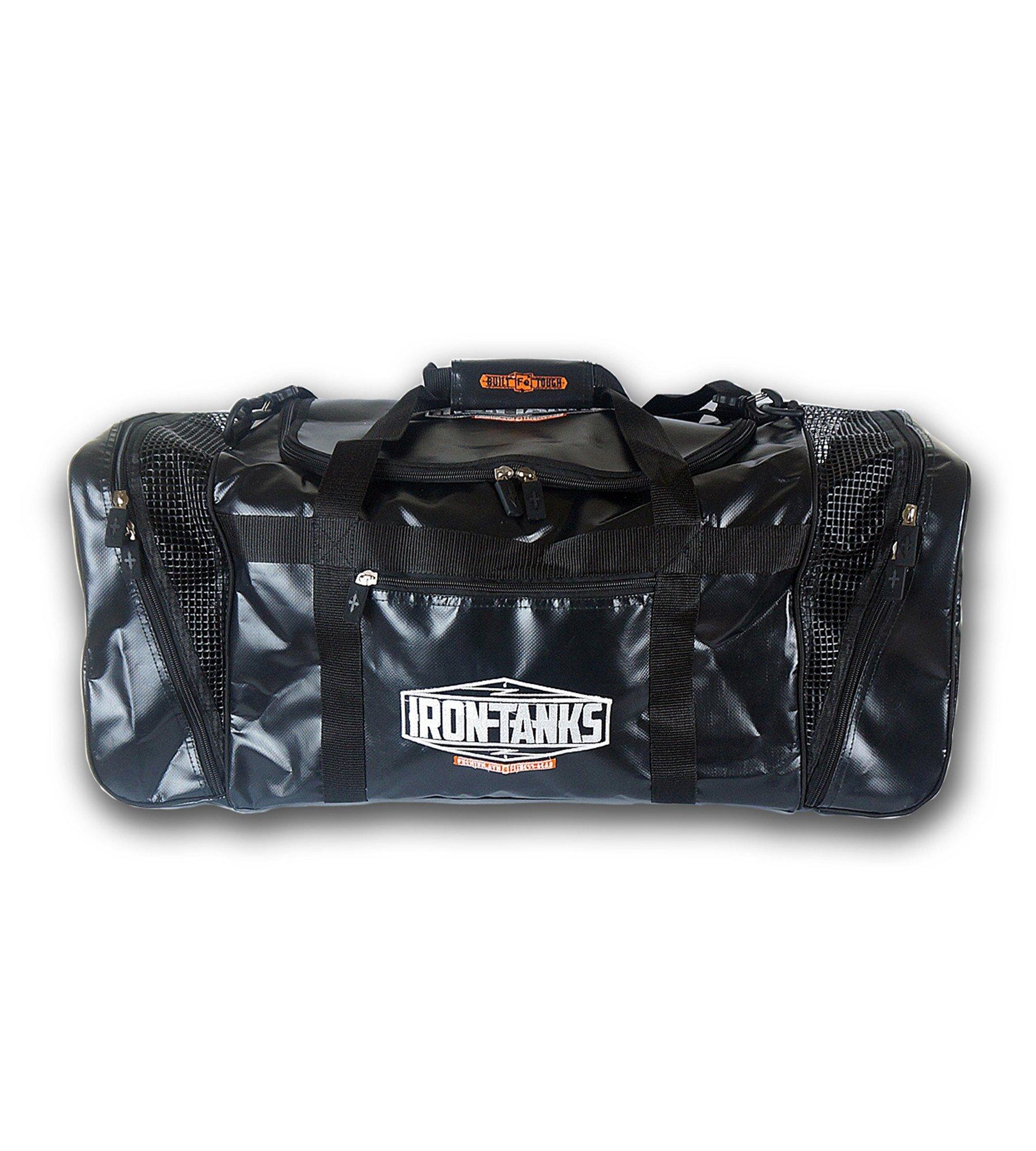 Iron Tanks Pro Gym Bag Black - Bodybuilding Powerlifting Workout Duffel Overnight
