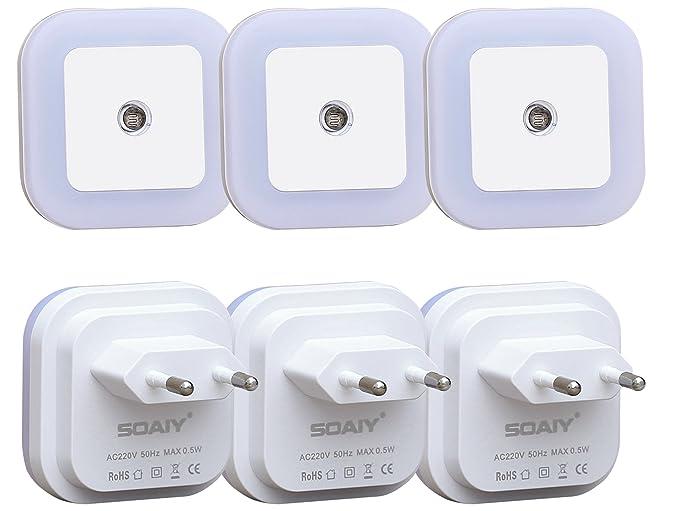SOAIY® [6pcs] 0.5 W Luz Nocturna con Luz Sensor Automático, Luz de