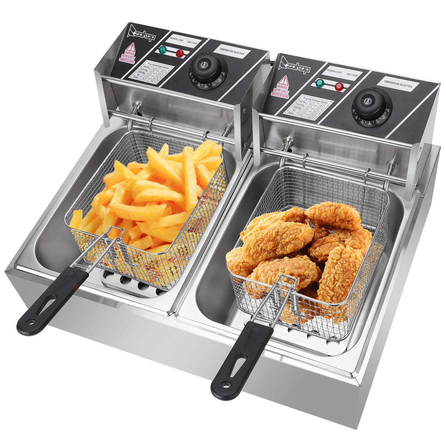 ZOKOP Electric Fryer,12L Commercial Electric Countertop Stainless Steel Deep Fryer Basket French Fry Restaurant Home Kitchen