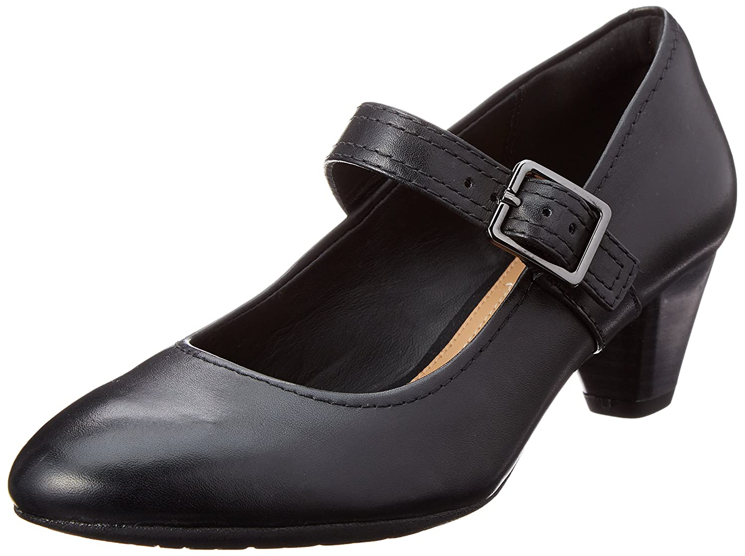 Clarks Womens Black Leather 'Denny Date' Mid Block Heel Court Shoes