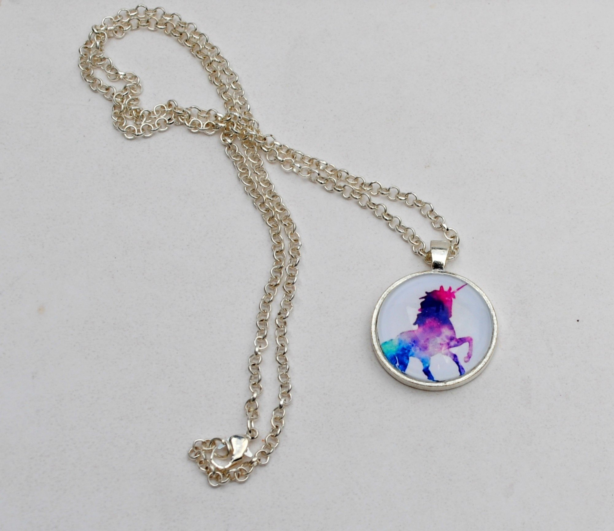 Magical Rainbow Unicorn Glass Dome Circle Pendant Necklace 24 Inch Chain Jewelry 6