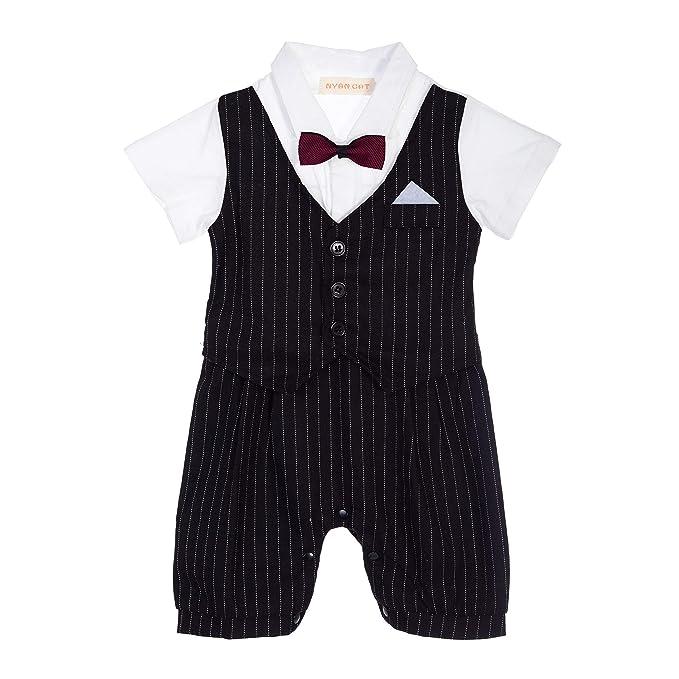 Amazon.com: Bebé niño bautizo boda bautizo traje pantalones ...
