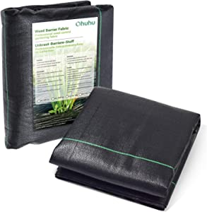 Ohuhu Landscape Fabric Weed Barrier Fabric, 3' x 50' Dual-Layer Premium 5oz Garden Landscaping Fabric, Durable & Heavy-Duty Weed Block Gardening Mat, Weed Control Ground Cover for Flower Bed, Mulch