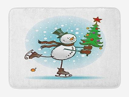 Amazon Com Rs Pthrab Snowman Bath Mat Hand Drawn Style Skating