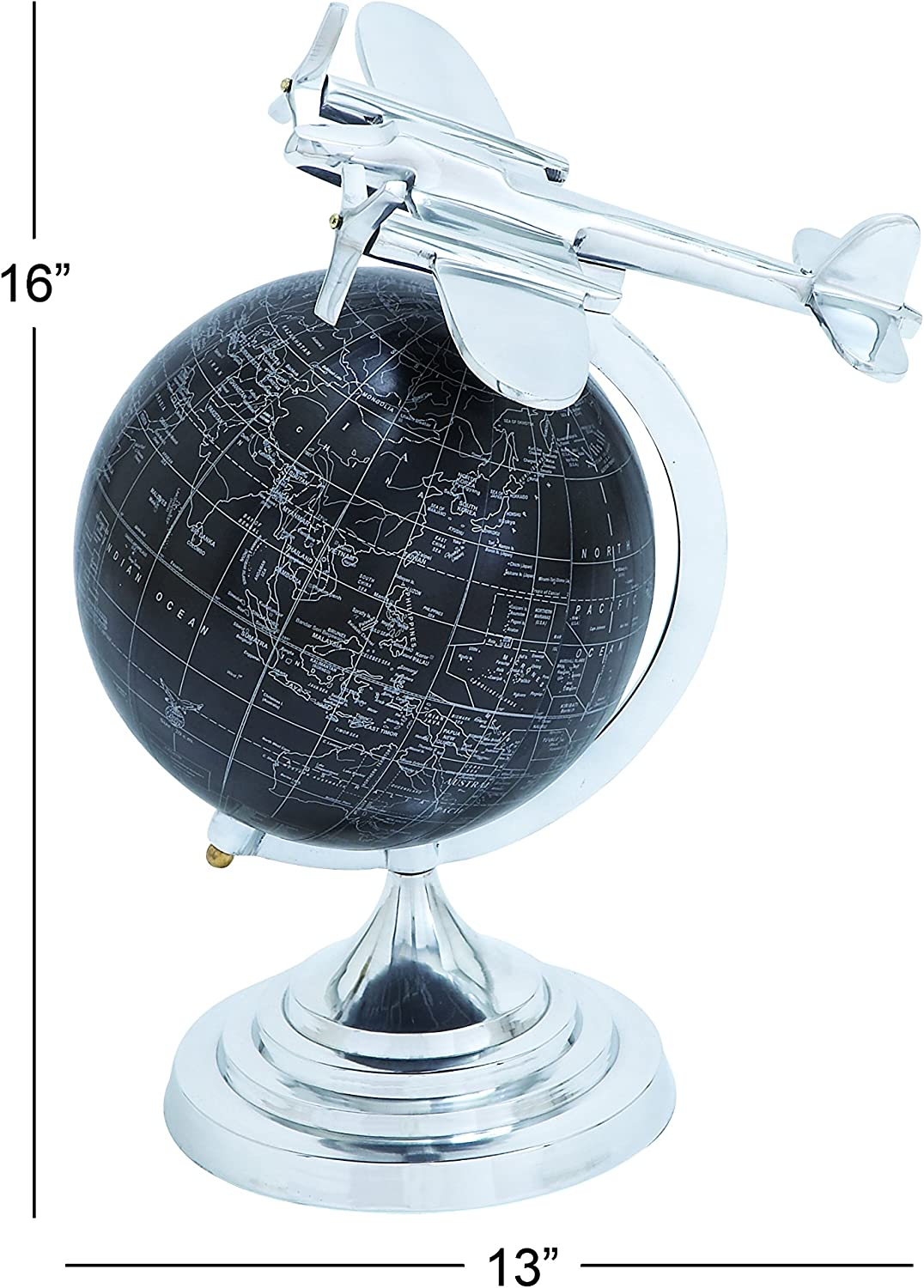 25 x 13 Deco 79 72958 Iron Star Ball Sculpture with Tips and Marble Base Black//White//Green