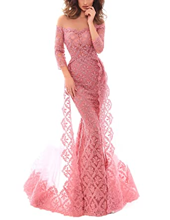 Amazon.com: AngelCity Brides Off Shoulder Lace Prom Dresses Mermaid Long Formal Evening Dress with Sleeve: Clothing