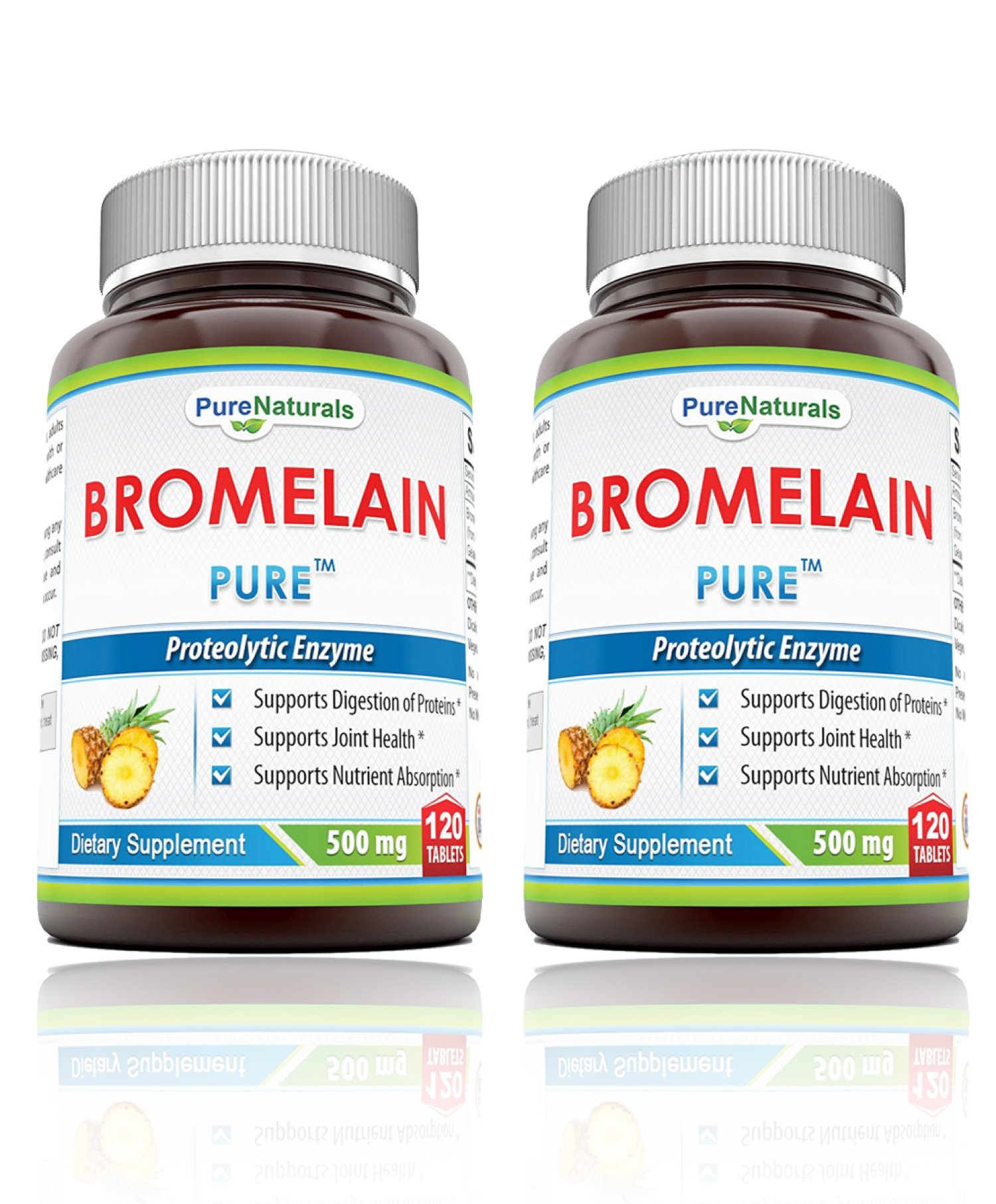 Pure Naturals Bromelain Dietary Supplement - 500mg, 120 Enzyme Tablets Per Bottle – Supports Healthy Digestion, Anti- Inflammatory Support 2 Pack