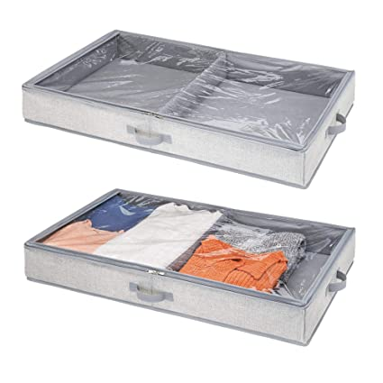 mDesign Organizador de zapatos y ropa para ubicar debajo de la cama - Guarda zapatos y