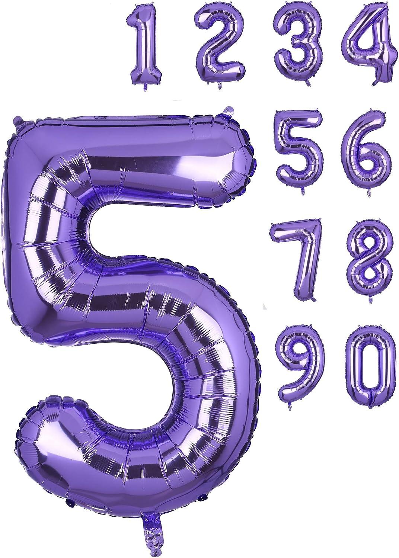 Amazon.com: Globos de helio con números grandes y morados de ...