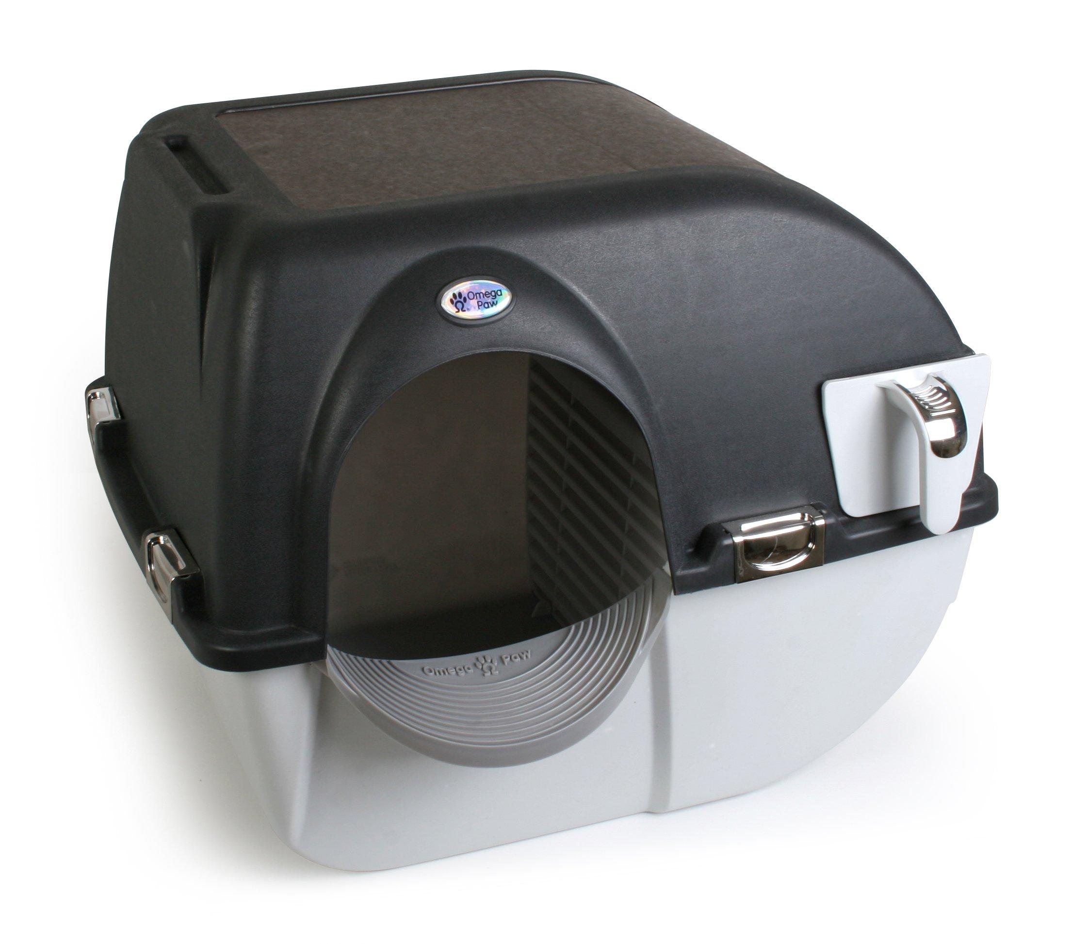 Omega Paw EL-RA15-1 Elite Roll 'n Clean Litter Box, Regular, Midnight Black