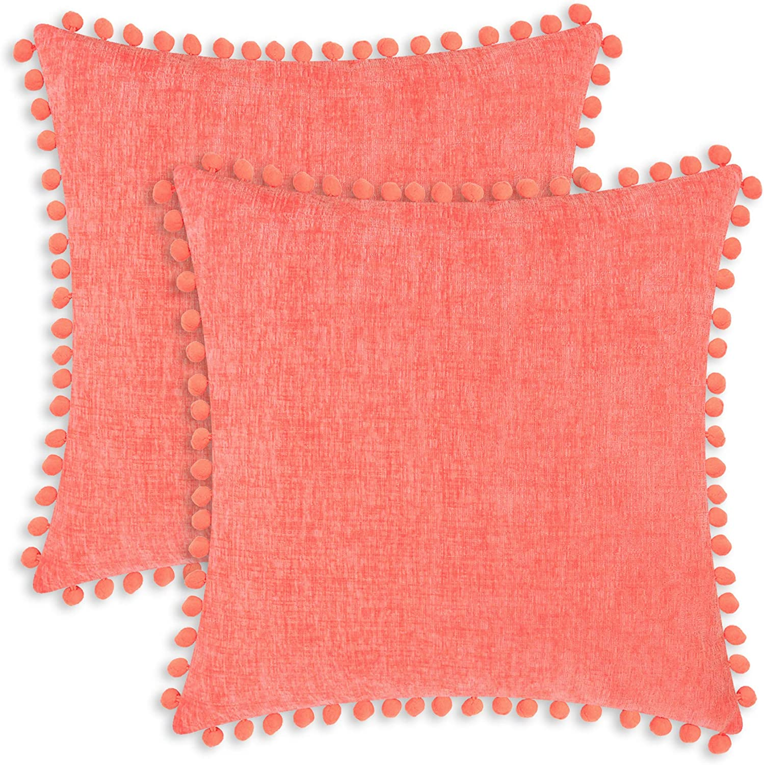 CaliTime Throw Pillow Cases Pack of 2 Cozy Solid Dyed Soft Chenille Cushion Covers with Pom Poms for Couch Sofa Home Decoration 22 X 22 Inches Living Coral