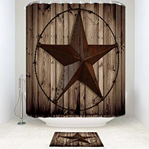 Z&L Home Bathroom Sets with Shower Curtain and Rugs-Personalized Western Texas Star Rustic Wood Board