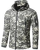 Rebotranko アウトドア タクティカル ソフト シェル ジャケット 保温や防水や防風など多機能のアノラック スキーと山登りの迷彩服