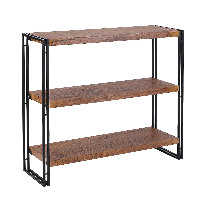 FIVEGIVEN 3 Tier Bookshelf Rustic Industrial Bookshelf Wood and Metal, Brown