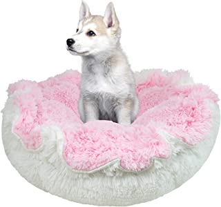 product image for BESSIE AND BARNIE Ultra Plush Bubble Gum/Snow White Luxury Shag Deluxe Dog/Pet Cuddle Pod Bed