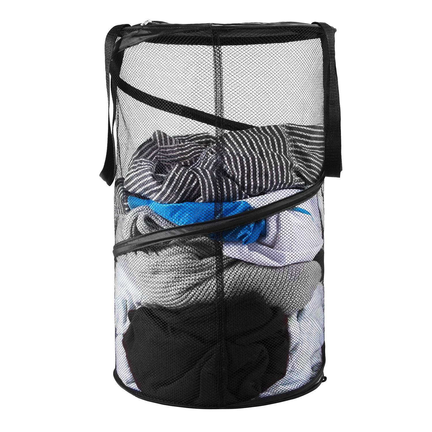 Kyle Bernard Pop-Up Mesh Laundry Hamper, Foldable Collapsible Laundry Basket with Handles and Lid for Dirty Clothes, Baby Accessories Toys, Sporting Goods