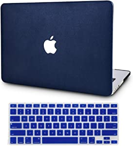 "KECC Laptop Case for MacBook Air 13"" Retina (2020/2019/2018, Touch ID) w/Keyboard Cover Italian Leather Case A1932 2 in 1 Bundle (Navy Blue Leather)"