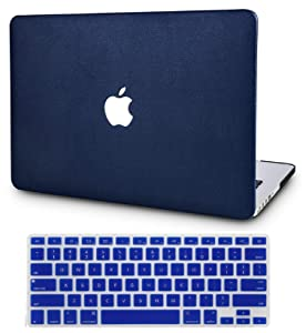 "KECC Laptop Case for MacBook Pro 15"" (2019/2018/2017/2016) w/Keyboard Cover Italian Leather A1990/A1707 Touch Bar 2 in 1 Bundle (Navy Blue Leather)"