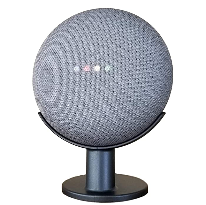Mount Genie Google Home Mini Pedestal: Improves Sound Visibility and Appearance - Cleanest Mount Holder Stand for Google Mini - Designed in USA (Charcoal)
