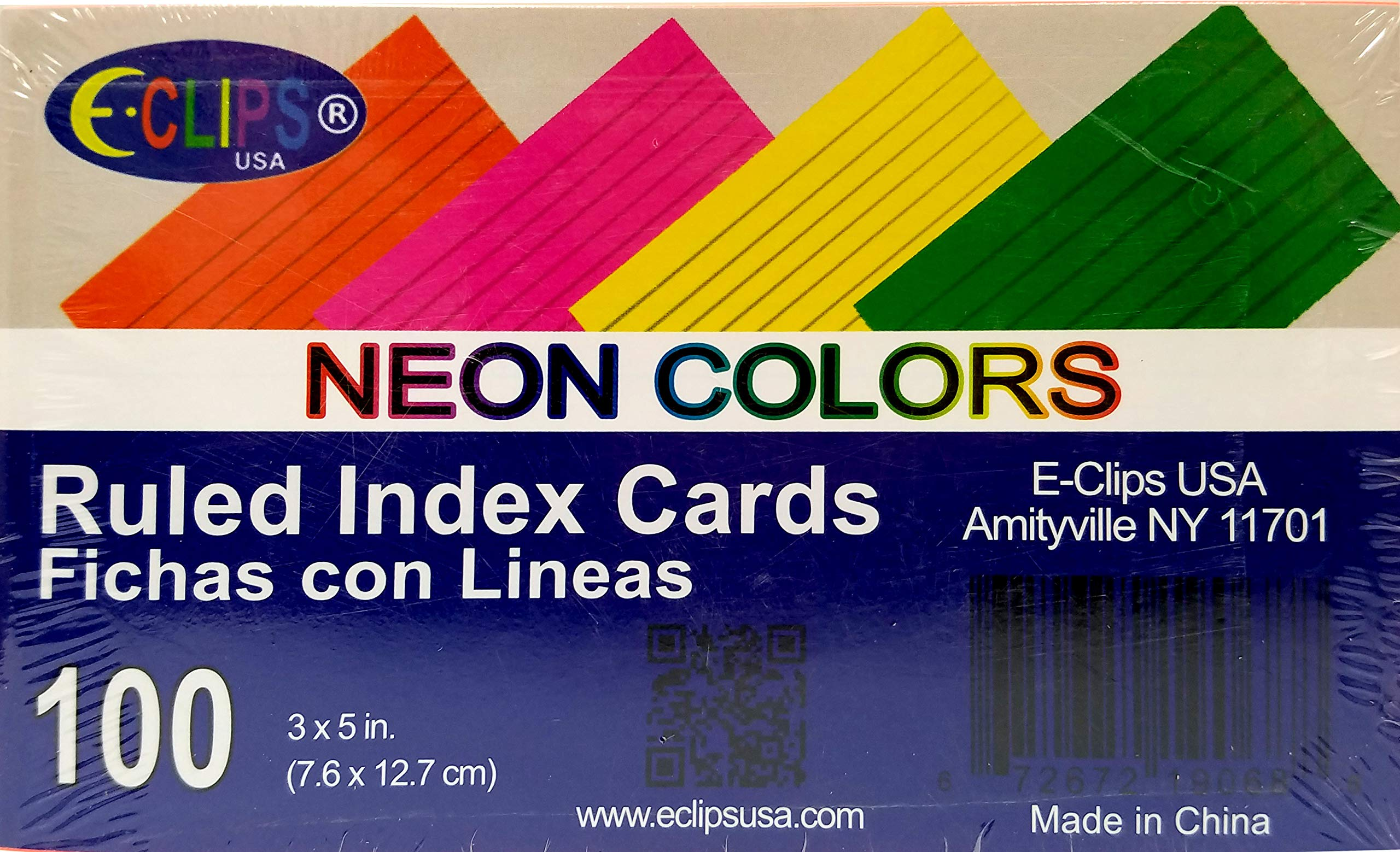 Index cards, 3''x 5'', 100 pk, Neon Colors, Ruled, Case Pack of 60, Ideal for Bulk Buyers