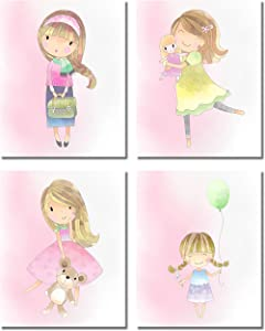 Cute Girls Bedroom Wall Art Decor Prints - Set of 4 (8 inches x 10 inches) Pink Unframed Photos