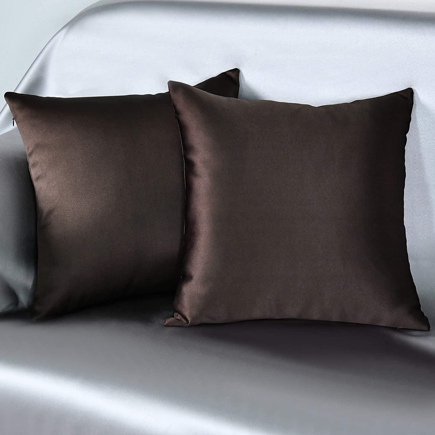 KEQIAOSUOCAI Decorative Throw Pillow Covers Soft Silky Satin Solid Cushion Covers 18 X 18 for Couch Bedroom Car, Pack of 2, Coffee Brown