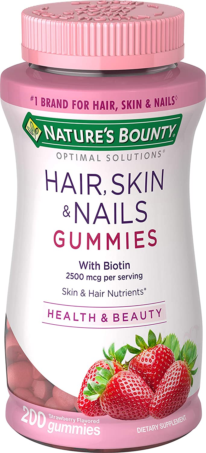Nature's Bounty Vitamin Biotin Optimal Solutions Hair, Skin and Nails Gummies, 200 Count, (Pack of 1)
