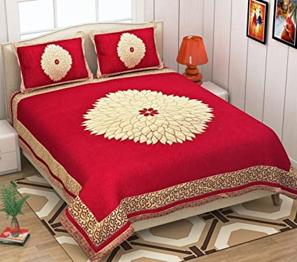 853ad439dd Akshya 250 TC Velvet Chenille Double Bedsheet with 2 Pillow Cover - King  Size, Camel: Amazon.in: Home & Kitchen