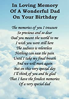 To My Dad On Fathers Day Memorial Graveside Poem Keepsake Card