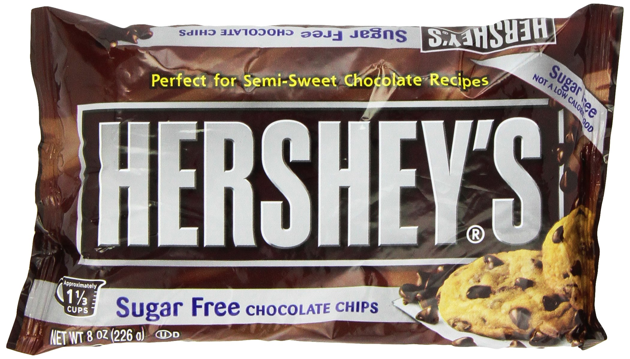 Hershey's Sugar Free Semi-Sweet Baking Chips, 8 Ounce (Pack of 12) by HERSHEY'S
