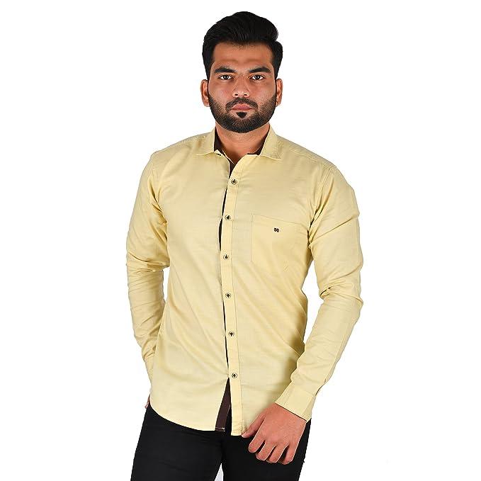 e7b7656a54 3nity Men s Light Yellow Button Down Casual Shirt  Amazon.in ...