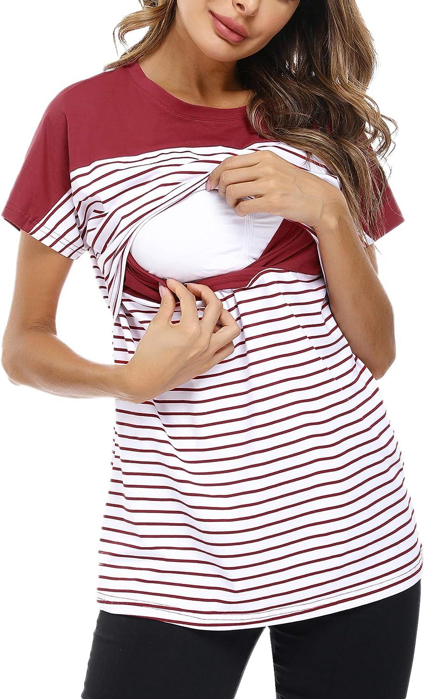 Hawiton Camisetas Lactancia de Manga Larga Invierno Camiseta de Algodon Lactancia Premam/á Camisa de Maternidad para Mujer Ropa de Enfermer/ía Rayas Cuello Redondo