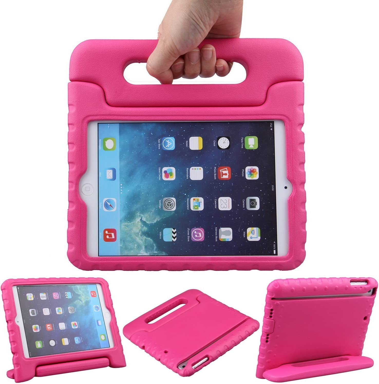 LEFON Kids Case for iPad Mini Shockproof Convertible Handle Light Weight Super Protective Stand Cover Case for Apple iPad Mini 3rd Gen/Mini 2 / Mini 1 (Rosy)