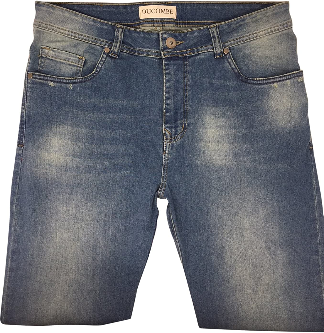 """28 Inches Inseam Jeans - A Classic 5 Pocket Tapered Leg fit Jean for Men Under 5'6"""" - Blue Mens Jeans 28"""
