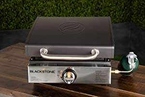 """Blackstone Tabletop Griddle-17 Inch Propane Gas Hood – Portable Flat top 17"""" Griddle-Rear Grease Trap for Kitchen, Camping, Outdoor, Tailgating, or Picnicking (1814), 17 Inch, Black"""