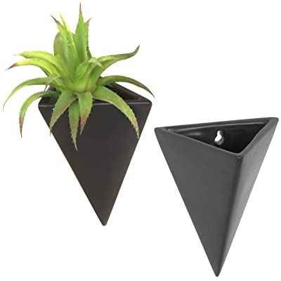 MyGift Pyramid Black Ceramic Wall-Mounted Sconce-Style Succulent Planter Vases, Set of 2: Garden & Outdoor